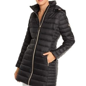 MK Black Packable Double Zip Removable Hood Coat